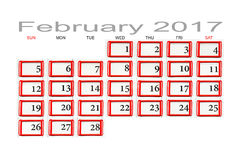 Calendar for February 2017. Macro Stock Photo