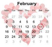 Calendar for February 2015 with marked Valentine's day Stock Photos