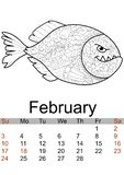Calendar February month 2019. Antistress coloring red bellied piranha, sea animal, fish. Vector. Illustration vector illustration