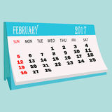 Calendar 2017 February page of a desktop calendar. 3D Rendering Stock Photos