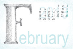 Calendar february pencil hand draw Royalty Free Stock Images