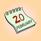Calendar February 20 pop art vector illustration. Calendar February 20 pop art design vector illustration. Book separate objects. Almanac hand drawn doodle Royalty Free Stock Photos