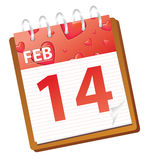 Calendar february red. Calendar february 14 valentines day royalty free illustration