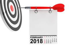 Calendar February 2018 with target. 3d Rendering. Calendar February 2018 on blank note paper with free space for your text with target. 3d Rendering Stock Photo