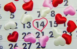Calendar February 14, Valentine`s Day. Selective focus stock photography