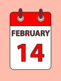 Calendar 14 february. Valentine s Day. Page on pink field Royalty Free Stock Photography