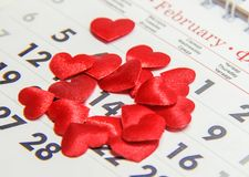 Calendar February 14, Valentine`s Day. Selective focus royalty free stock photography