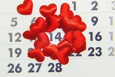 Calendar February 14, Valentine`s Day. Selective focus royalty free stock photo