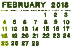 Calendar for February 2018 on white background. 3d rendering green grass Stock Photography