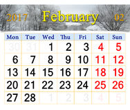 Calendar for February of 2017 with winter river. Calendar for February 2017 with winter river. Calendar for printing and using in office life Stock Photography