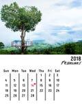 Calendar fevereiro de 2018 com a árvore da forma do coração de Phitsanulok Tailândia Imagem de Stock Royalty Free