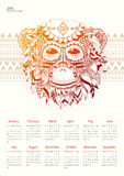 Calendar with red monkey on a light background. Calendar for 2016 with a fiery monkey. Red Monkey calendar grid on a light background Stock Photography