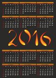 Calendar for 2016. Calendar for 2016 with a fiery numerals on a black background Royalty Free Stock Images