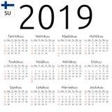 Calendar 2019, Finnish, Sunday. Simple annual 2019 year wall calendar. Finnish language. Week starts on Sunday. Highlighted Sunday, no holidays. EPS 8 vector Royalty Free Stock Photography