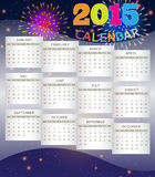 Calendar 2015 on Fireworks Background. Purple background with fireworks theme of calendar 2015 Royalty Free Stock Photo