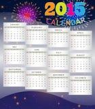 Calendar 2015 on Fireworks Background. Purple background with fireworks theme of calendar 2015 Royalty Free Illustration