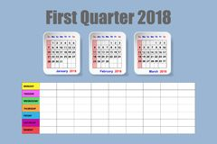 Calendar for first quarter of 2018 with weekly schedule. Calendar for first quarter of 2018 year on the blue background with the empty weekly schedule Royalty Free Stock Photo