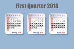 Calendar for first quarter of 2018 year. On the blue background Royalty Free Stock Image