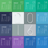 2016 calendar in flat colors. For your design. Week starts on Monday royalty free illustration