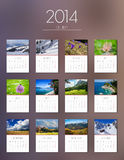 Calendar 2014 - flat design. Photo calendar for 2014 week starts on Monday Royalty Free Stock Photo