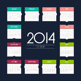 Calendar 2014 - flat design Stock Images