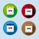 Calendar Flat Icon With April Stock Photos
