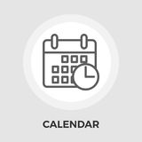 Calendar Flat Icon. Calendar with clock icon vector. Flat icon isolated on the white background. Editable EPS file. Vector illustration Royalty Free Stock Photo