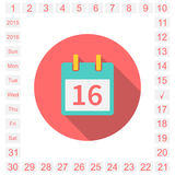 Calendar flat. Calendar  icon,  event icon,  calendar page. easily editable. all dates of the month and days of the week. 2015, 2016. Vector illustration Royalty Free Stock Photos