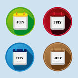 Calendar Flat Icon With July Stock Photography