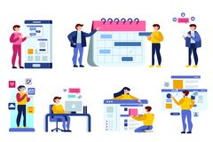 Calendar and flat people icons. People debate on calendar building a schedule application user interface. Simple flat vector deign Stock Photography