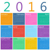 Calendar for 2016. Flat style design of calendar for 2016 Stock Photos