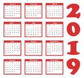 Calendar 2019. Calendar in flat style royalty free illustration