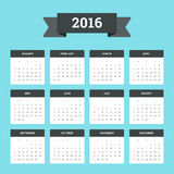 Calendar 2016. Flat Calendar 2016. Week starts from Sunday Stock Photos