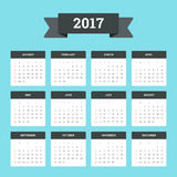 Calendar 2017. Flat Calendar 2017. Week starts from Sunday royalty free illustration