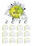 2018 calendar with floral leaf design. 2018 calendar design with floral leafs, 12 months, vector Stock Images
