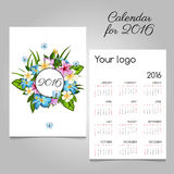 Calendar 2016 with floral ornament and butterflies. Vector calendar 2016 with floral ornament and butterflies Stock Image
