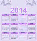 Calendar for 2014 with a floral pattern. And a horse vector illustration
