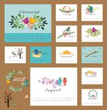 2018 floral calendar with birds. 2018 Calendar with flower and birds design element Stock Photos