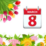 Calendar And Flower Border Royalty Free Stock Photography