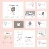 2018 calendar with cute animals. 2018 Calendar with flower and cute animal design element Stock Photography
