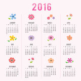 Calendar 2016 Flower Cute Cartoon Vector. Design Vector Illustration