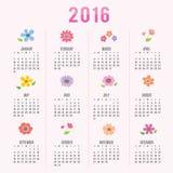 Calendar 2016 Flower Cute Cartoon Vector Royalty Free Stock Photos