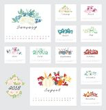 2018 Calendar with flower design element. 2018 Calendar with flower decoration design element Royalty Free Stock Images