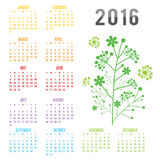 Calendar 2016 Flower Vector. Design Royalty Free Illustration