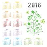 Calendar 2016 Flower Vector Royalty Free Stock Image