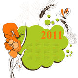 Calendar with flowers for 2011. Universal template for greeting card, web page, background Stock Image