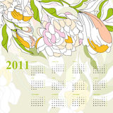 Calendar with flowers for 2011. Decorative calendar with flowers for 2011 vector illustration
