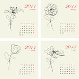 Calendar with flowers for 2011. Part 1 Royalty Free Stock Photo