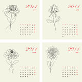 Calendar with flowers for 2011. Part 2 Royalty Free Stock Image