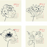 Calendar with flowers for 2011 Stock Photo